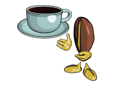 processed grains: Character - the coffee bean  Offers drink coffee in a blue cup and saucer