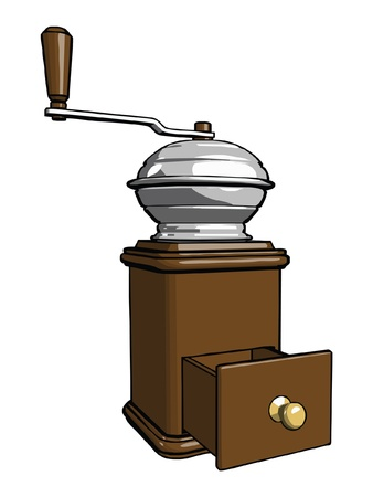 processed grains: Brown wooden coffee grinder with open tray