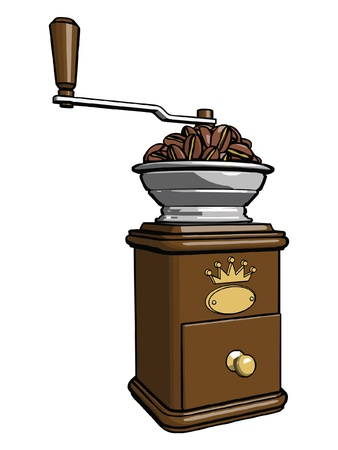 processed food: Brown wooden coffee grinder with closed tray and loaded with coffee beans