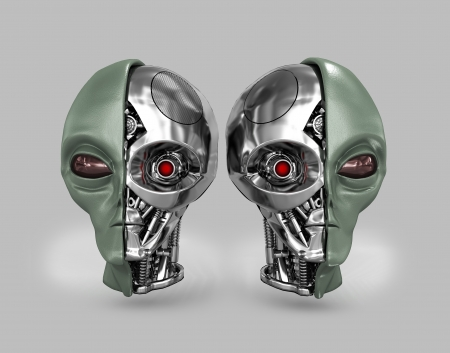 roswell: Two heads of extraterrestrial cyborg with a metal skeleton dissected. On a gray background. Stock Photo