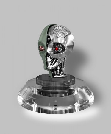 green little planet earth: extraterrestrial cyborg head dissection,on a glass base a gray background with reflection