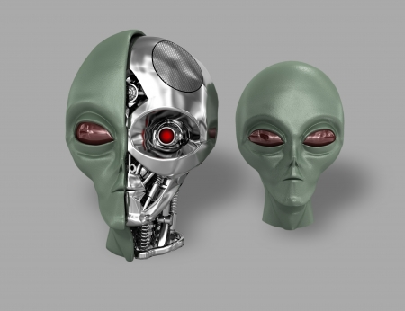 green little planet earth: Two heads of extraterrestrial cyborg with a metal skeleton dissected. On a gray background. Stock Photo