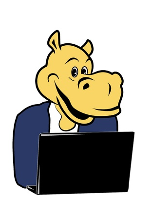 hippo in the office at a desk with a laptop Vector