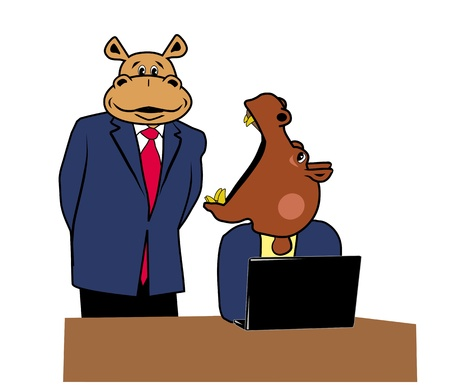 Two hippos in office at a desk with a laptop Vector