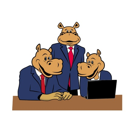 three hippos in office at a desk with a laptop Vector