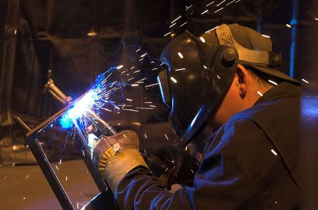 welded: Picture of a professional welder at work