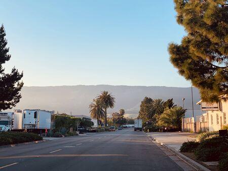 Goleta Street in Santa Barbara California, sunny morning