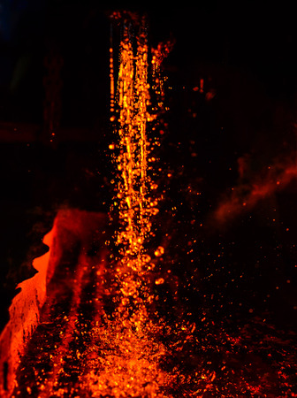 Metal on casting. Metallurgy.  High temperature in the melting furnace. Heavy forging steelmaking plant and steelmaking workshop. Oven. Water curtain. For abstract background and texture.