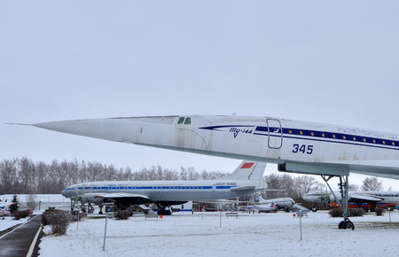 09.23.2018 Russia Ulyanovsk Airport: The cabin of the legendary Soviet aircraft Tupolev Tu-144, the worlds first supersonic passenger aircraft. A series of photos
