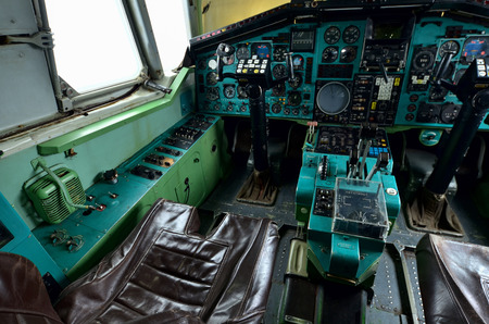 09.23.2018 Russia Ulyanovsk Airport: The Inside the cockpit of the legendary Soviet aircraft Tupolev Tu-144, the worlds first supersonic passenger aircraft. A series of photos