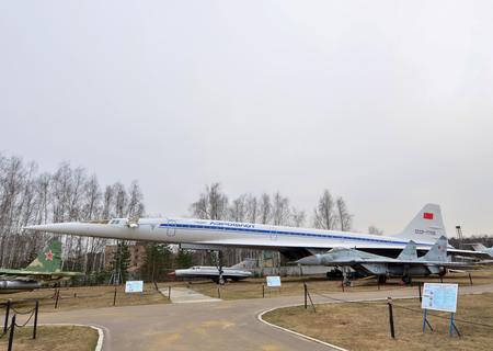 09.23.2018 Russia Ulyanovsk Airport: The cabin of the legendary Soviet aircraft Tupolev Tu-144, the worlds first supersonic passenger aircraft