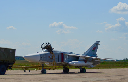 Belarus, 61st fighter airbase Baranavichy. August 15, 2018: Sukhoi Su-24 military aircraft of the Belarusian Air Force bomber combat aircraft Editorial
