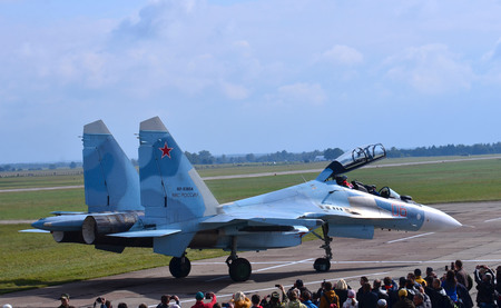 Belarus, Lida military air base, 08092017: Su-30SM fighter jet aerobatic team Falcons Of Russia. Russia airforce Editorial