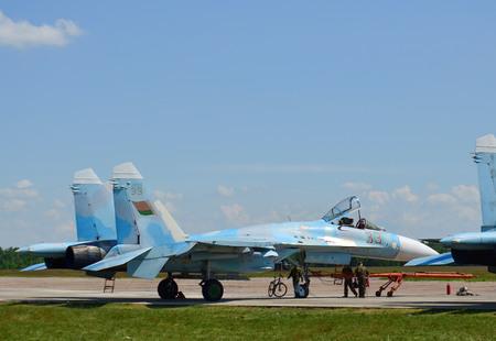 Belarus, 61st fighter airbase Baranovichi. August 15, 2018: Sukhoi Su-27 Flanker Front-Line Fighter Aircraft Parking