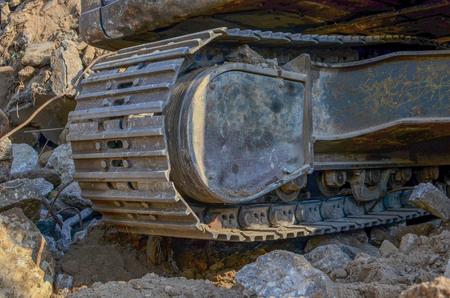 Excavator tracks at work