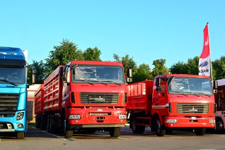 Minsk, Belarus 29/07/2019: New trucks of the Minsk Automobile Plant MAZ