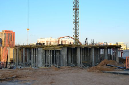 Formwork solutions for reinforced concrete construction in the during construction foundation. Building and structures using structural concrete. Reinforced concrete framed superstructure. Steel Fixer