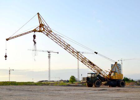Unique soviet auto crane at a construction site