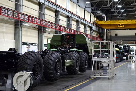 Inside of the Minsk Wheel Tractor Plant Volat. Industrial workshop for the production of military trucks. Factory of the manufacturing wheel chassis and vehicles which carries heavy loads