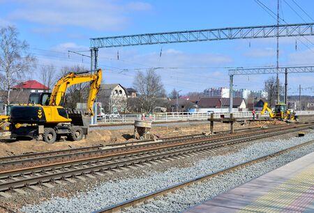 excavator on railway construction