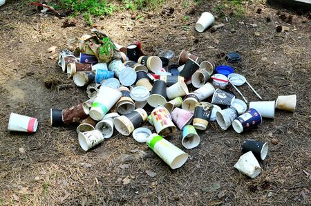 14.05.2019, Minsk, Belarus: Discarded coffee cups and fast food packaging in the forest on ground. People left behind trash. The concept of pollution of nature and the environment, background, texture Archivio Fotografico