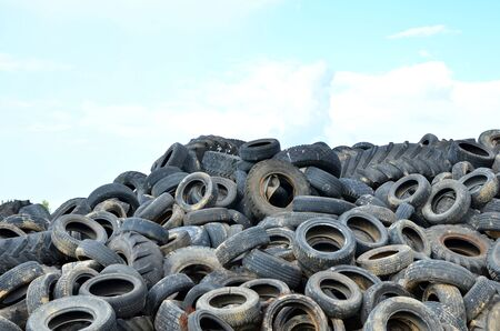 Industrial landfill for the processing of waste tires and rubber tyres. Pile of old tires and wheels for rubber recycling. Tyre dump Reklamní fotografie
