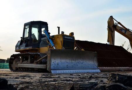 28.06.2019 Minsk, Belarus: Track-type bulldozerShantui on a construction site.