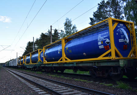 BELARUS, JUNE 04, 2020: Transport tank car LNG by «TNK Russian Tank Container Petrochemical Company». LPG transport propane and gas - oil products. Rolling stock with liquefied natural gas Editorial