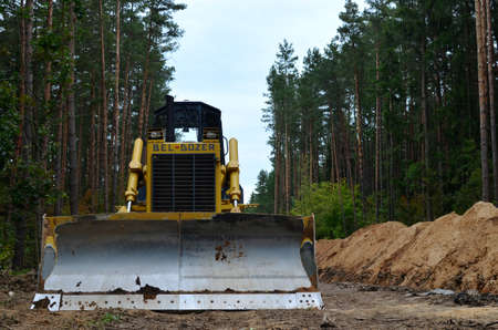 25.09.2019, Minsk, Belarus: Track-type bulldozer made by the Republic of Belarus under the brand name