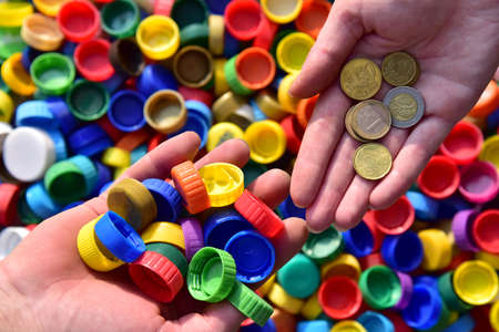 Recycling Lids From Plastic Bottles for money. Cap material is recyclable. Get paid for plastic recycling. Cash from trash. Waste plastic bottle caps for recycling.