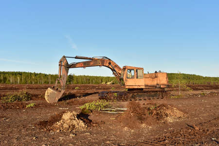 Excavator digging drainage ditch in peat extraction site. Drainage of peat bogs and destruction of trees. Drilling on bog for oil exploration. Mining peatlands. Wetlands declining and under serious threat