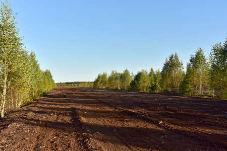 Landscape on peatlands where being development of the peat. Drainage of peat bogs at extraction site. Drilling on bog for oil exploration. Wetlands declining and under threat.