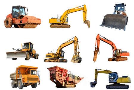 Set of construction equipment: Excavator, Dozer, Soil Compactor, Mining Truck, Motor Grader, Breaker Hammer, Jackhammer, Crusher screening bucket, Wheel loader, Mobile Stone crusher, Paver, Skid steer Banco de Imagens