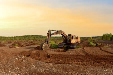 Excavator digging drainage ditch in peat extraction site. Drainage of peat bogs and destruction of trees. Drilling on bog for oil exploration. Wetlands declining and under threat. Mining on peatlands Stock Photo