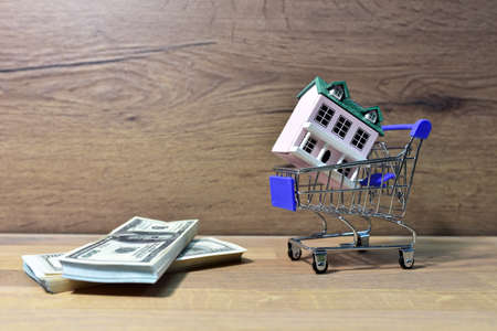 House in Supermarket Trolley and american dollars. Home buying or selling. Building on credit housing or renting apartment. Home in shopping cart for family. Real Estate Investing and Housing Market