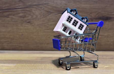 House in Supermarket Trolley. Home buying or selling. Building on credit housing or renting an apartment. Home in shopping cart for family. Real Estate Investing and Housing Market. American dream