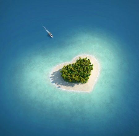 island beach: Paradise Island in the form of heart