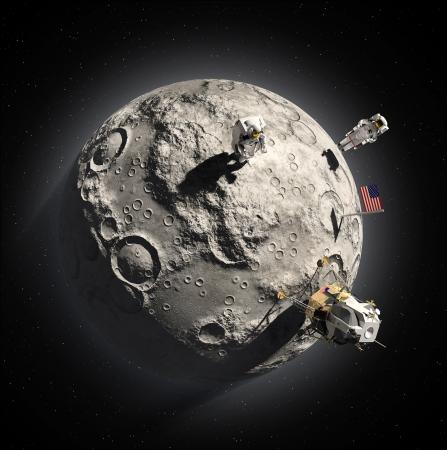 moon walker: Astronauts on the moon Stock Photo