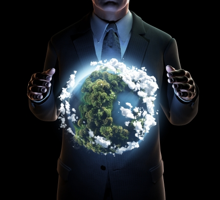 Businessman keeps the world in his hands Stock Photo - 18611291