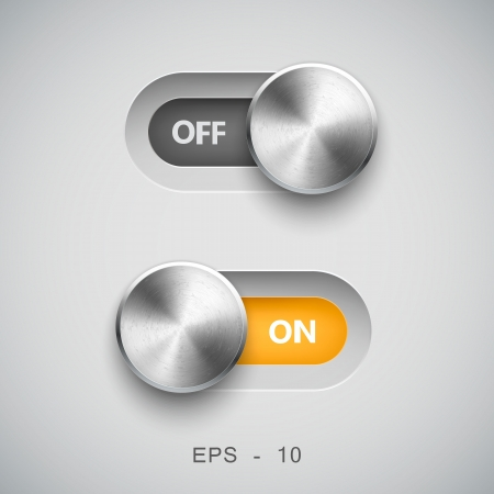 Toggle Switch On and Off position, On Off sliders Stock Vector - 22593242