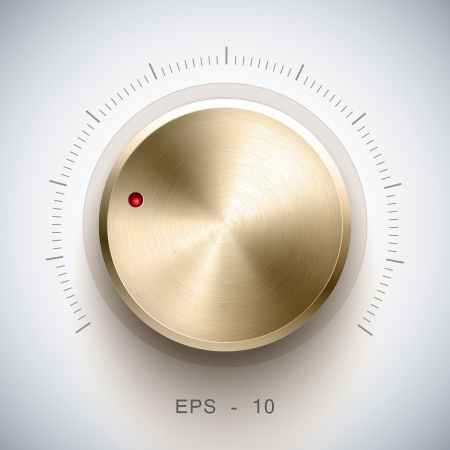 Volume button  music knob  with gold texture, for ui Ilustração