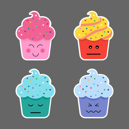 wicked set: Different emotions smiling faces, vector illustration Stock Photo