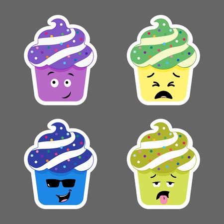 wicked set: Set of cupcake emojis icons