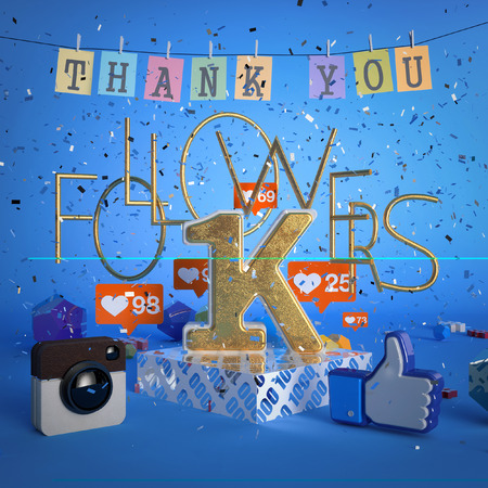 1000, 1K followers illustration with thank you. 3d rendering