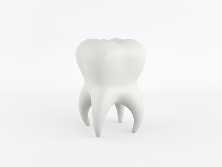 White healthy human tooth isolated on a white background with copy space. 3D rendering. Banco de Imagens