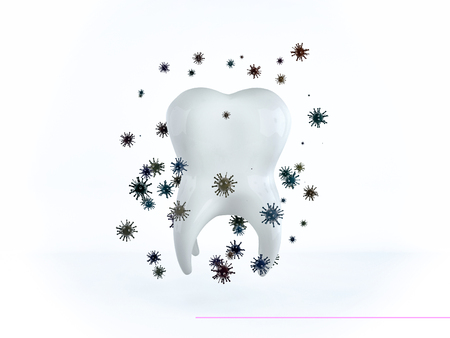 The tooth is surrounded by bacteria and microbes Banco de Imagens