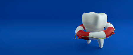 Tooth in the lifebuoy, on blue background. Protect Your Teeth Concept. Banco de Imagens