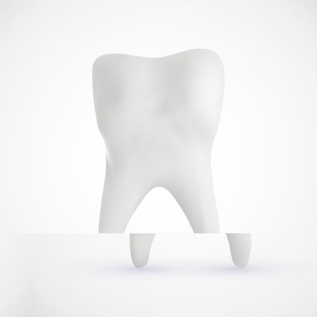 White healthy human tooth isolated on a white background with copy space. 3D rendering. Ilustração