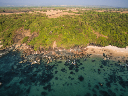 Beauty Xandrem beach aerial view landscape, Goa touristic state in India Banco de Imagens