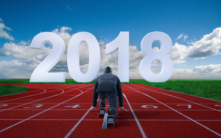 Geschäftsmann bereit, auf Anfangszeile des Jahres 2018 zu sprinten Startkarriere, Geschäftskonzept 3d Wiedergabe